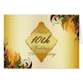 Anniversaire de mariage heureux floral en métal carte de vœux