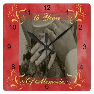 Anniversaire de mariage horloge carrée