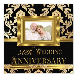 Anniversaire de mariage noir de photo cinquantième carton d'invitation  13,33 cm