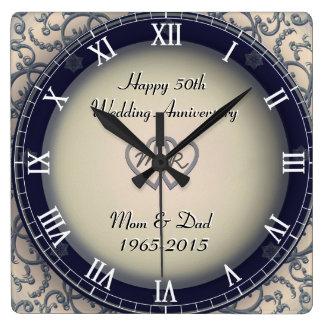 Anniversaire de mariage ornemental horloge carrée