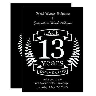 Anniversaire de mariage traditionnel de dentelle carton d'invitation  12,7 cm x 17,78 cm