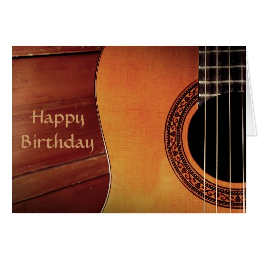 Anniversaire de musique en bois de guitare acousti cartes