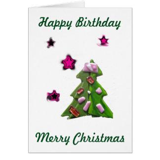 Anniversaire de Noël voyant étoiles le 25 décembre Carte De Vœux