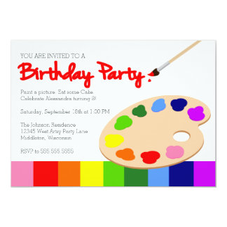 Anniversaire de partie de la peinture des enfants carton d'invitation  12,7 cm x 17,78 cm