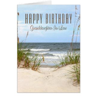 Anniversaire de Petite-fille-Dans-Loi de plage Carte De Vœux