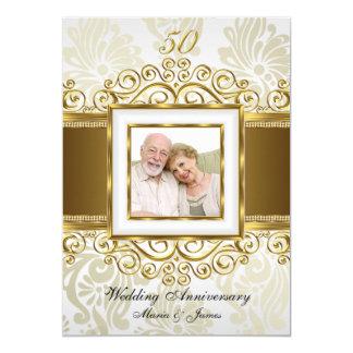 Anniversaire de photo cinquantième de damassé de carton d'invitation  12,7 cm x 17,78 cm
