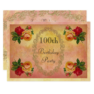Anniversaire de roses vintages chics 100th carton d'invitation  12,7 cm x 17,78 cm