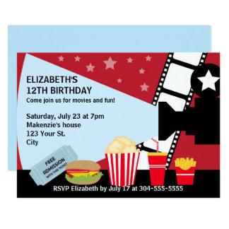 Anniversaire de soirée cinéma carton d'invitation  12,7 cm x 17,78 cm