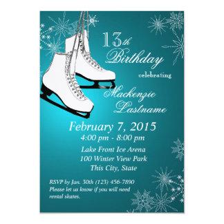 Anniversaire de Teal de patins et de flocons de Invitations Personnalisées