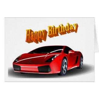 Anniversaire de voiture de sport joyeux carte de vœux
