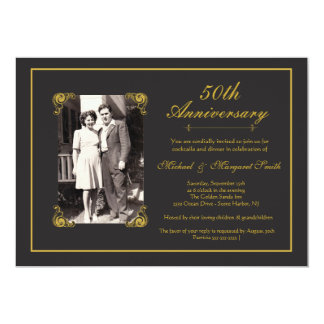 Anniversaire d'or carton d'invitation  12,7 cm x 17,78 cm