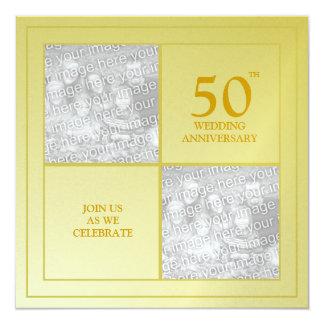 Anniversaire d'or de photo passée et présente carton d'invitation  13,33 cm