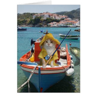 Anniversaire drôle de chat pour le pêcheur carte