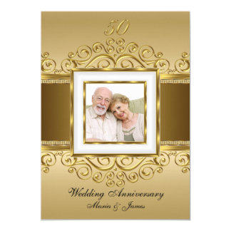 Anniversaire élégant de la photo 50 de remous d'or carton d'invitation  12,7 cm x 17,78 cm