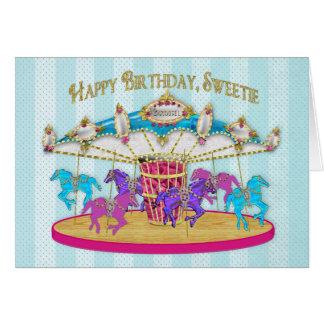 Anniversaire - enfant - carrousel - amusement pour carte