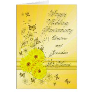 Anniversaire fabuleux de fleurs quarantième pour carte de vœux