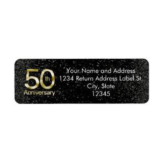 Anniversaire fascinant d'or cinquantième étiquette d'adresse retour