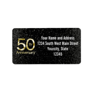 Anniversaire fascinant d'or cinquantième étiquettes d'adresse