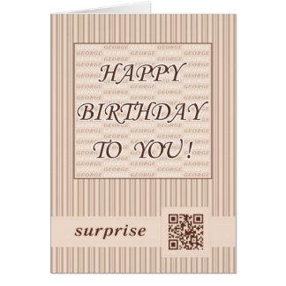 Anniversaire George de la salutation Card.Happy ! Carte