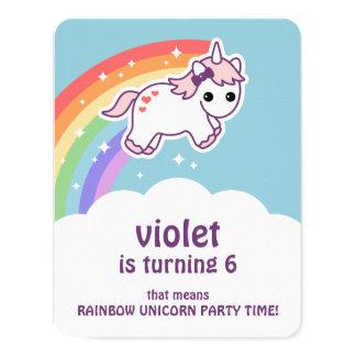 Anniversaire mignon de licorne d'arc-en-ciel carton d'invitation 10,79 cm x 13,97 cm