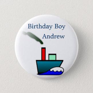 Anniversaire nautique de bateau badge rond 5 cm