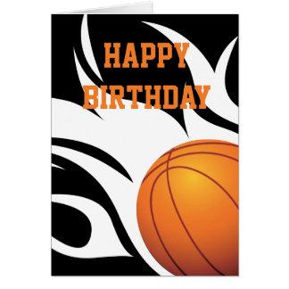 Anniversaire noir et blanc de basket-ball carte de vœux