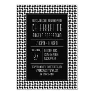 Anniversaire noir et blanc de pied-de-poule carton d'invitation  12,7 cm x 17,78 cm