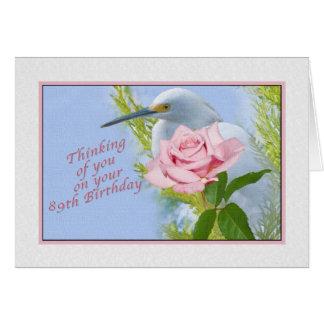 Anniversaire, quatre-vingt-dix-neuvième, rose de carte de vœux
