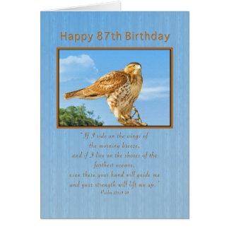 Anniversaire, quatre-vingt-dix-septième, faucon carte de vœux