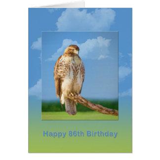 Anniversaire, quatre-vingt-sixième, faucon à carte de vœux