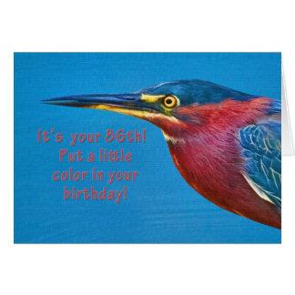 Anniversaire, quatre-vingt-sixième oiseau vert de carte de vœux
