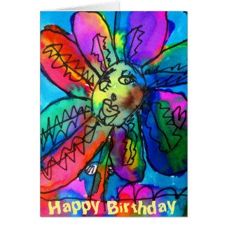 Anniversaire rose et bleu de l'art de l'enfant carte de vœux