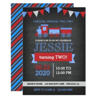 Anniversaire rouge et bleu de tableau de train carton d'invitation  12,7 cm x 17,78 cm