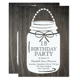 Anniversaire rustique de pot de maçon d'argile carton d'invitation  12,7 cm x 17,78 cm