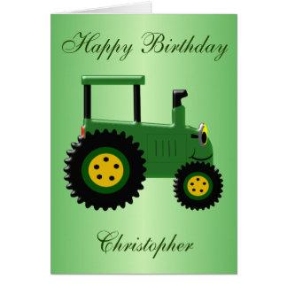 Anniversaire vert personnalisé de tracteur carte de vœux