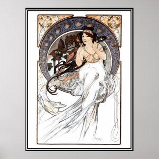 Annonce d'Alphonse Mucha de poster vintage