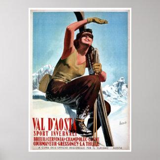 Annonce italienne vintage de voyage de ski de