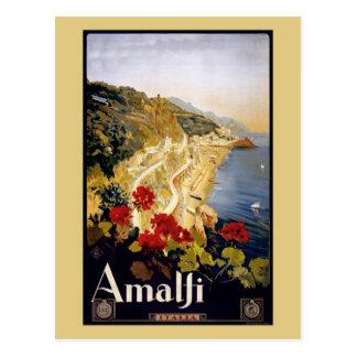 Annonce vintage Amalfi Italie de voyage de Litho Carte Postale