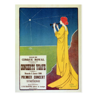 Annonce vintage de Bruxelles de concert de musique Carte Postale