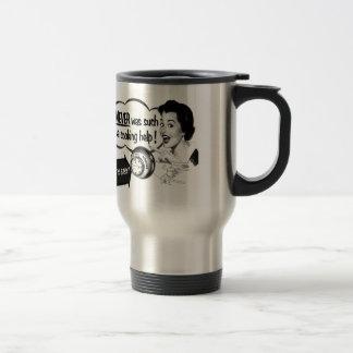 Annonce vintage de fourneau de femme au foyer de mug de voyage