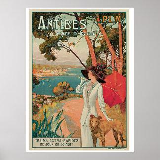Annonce vintage de voyage d'Antibes France