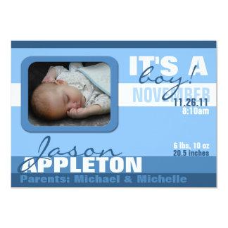 Annonces à la mode modernes de naissance de rayure carton d'invitation  12,7 cm x 17,78 cm