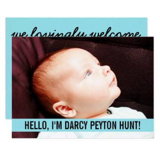 Annonces bleues en pastel de naissance de bébé de carton d'invitation  12,7 cm x 17,78 cm