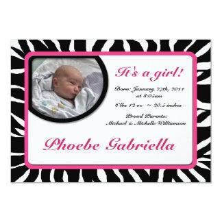 Annonces de naissance de rose d'impression de carton d'invitation  12,7 cm x 17,78 cm
