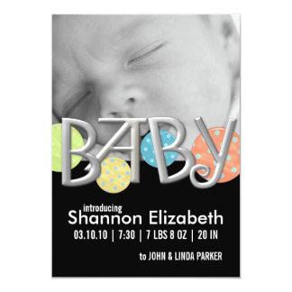 Annonces modernes de naissance de bébé carton d'invitation  12,7 cm x 17,78 cm