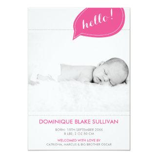 Annonces modernes de naissance de bulle rose de la carton d'invitation  12,7 cm x 17,78 cm