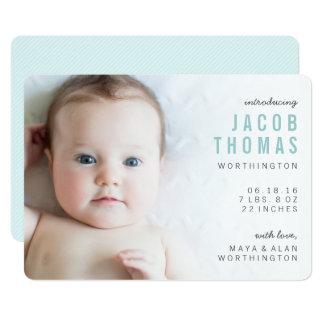 Annonces modernes simples de naissance de garçon carton d'invitation  12,7 cm x 17,78 cm