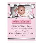 Annonces roses de naissance de coeurs de côté carton d'invitation  12,7 cm x 17,78 cm