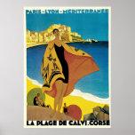 Annonces vintages de voyage : Plage De Calvi,