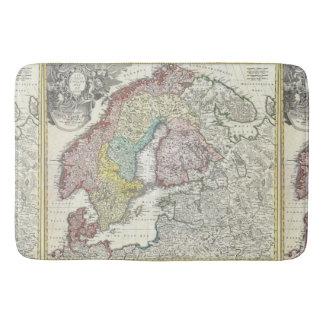 Antiek Kaart Scandinavië Vintage Noordelijk Europa Badmat